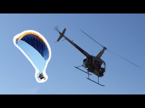 Helicopter Flight - Close Encounter with Paramotors