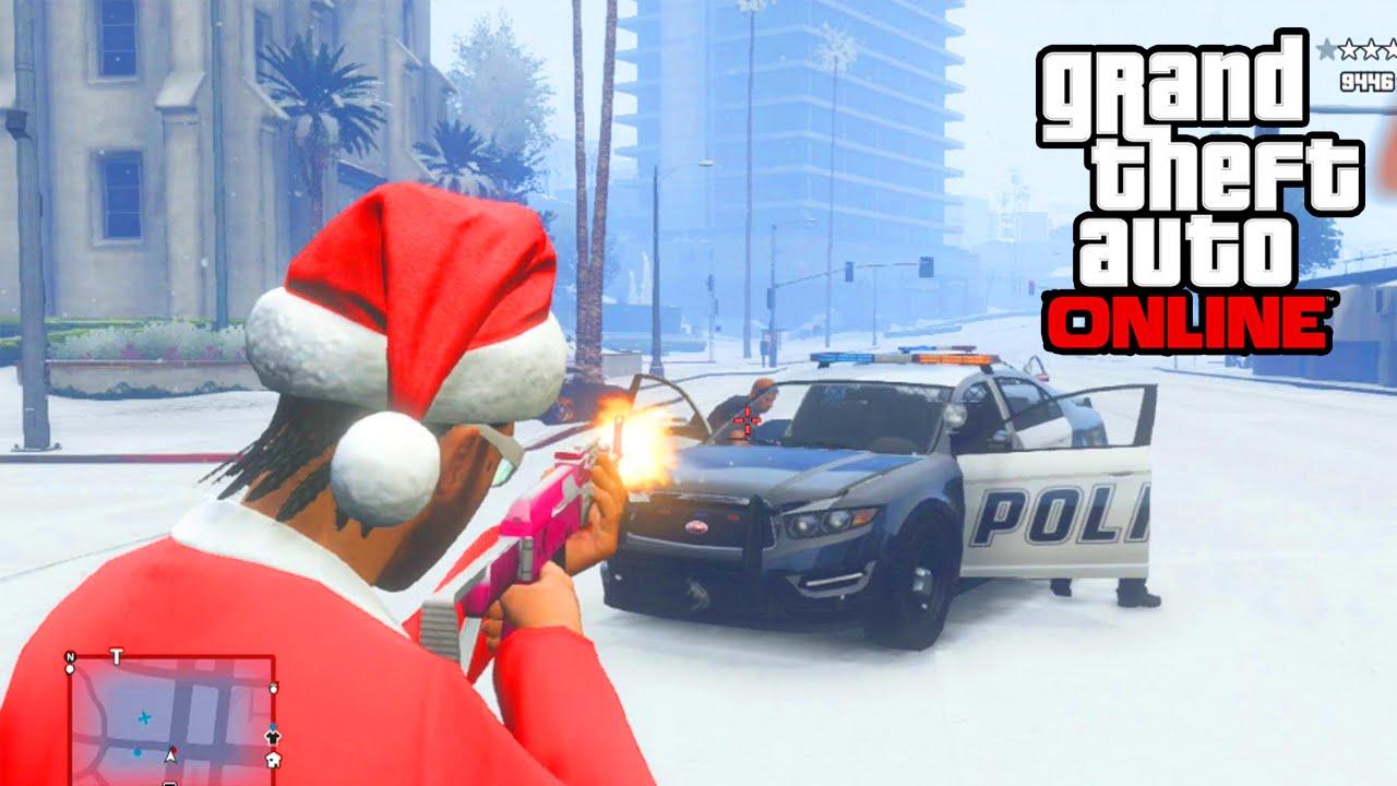 GTA 5 Online - LEAKED Snow & Christmas DLC! Cops & Crooks DLC ...