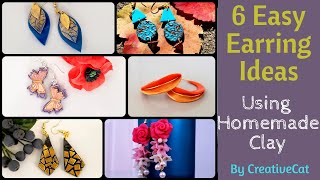6 Easy Clay earrings ideas using homemade airdry clay/clay earrings/art and craft