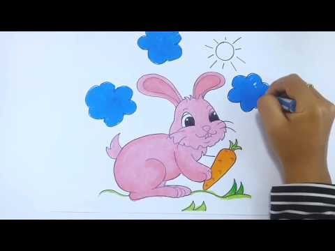 Tutorial How To Draw Red Rabbit With Crayon | Learn Colors