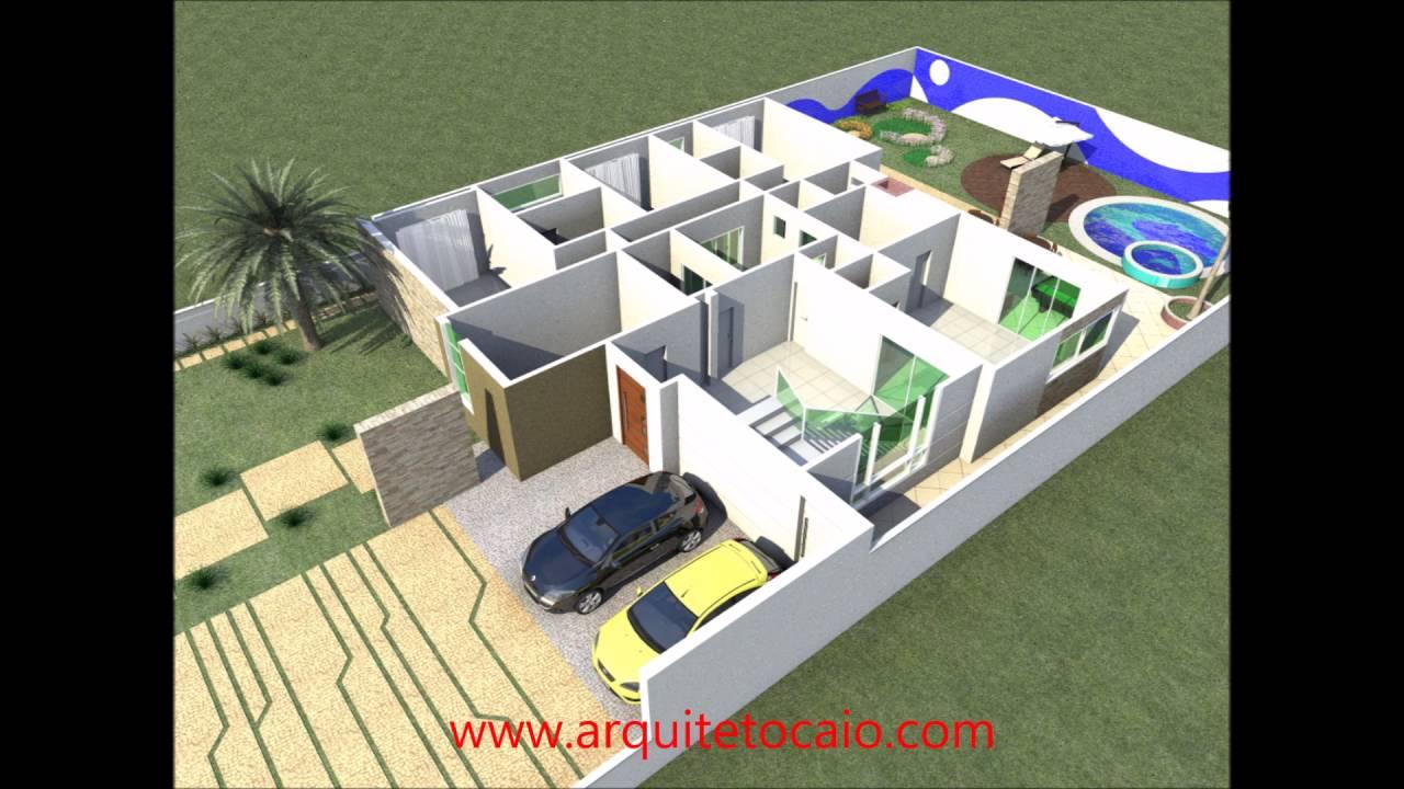 Projeto casa t rrea fachada moderna 3 suites area de lazer for Casa moderna 8x20