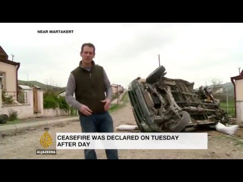 Destruction at the frontline of the Nagorno-Karabakh conflict