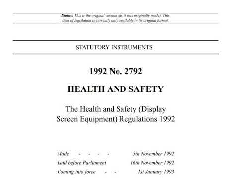 Display Screen Equipment (DSE) Regulations 1992 - Audiobook