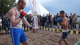 Маленький боец против  Великана в 150 кг. !!