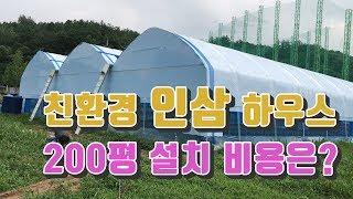 친환경 인삼 재배 시설 하우스 3연동 200평 설치 비…