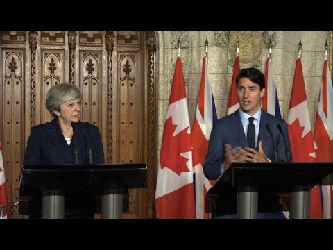 Britain's May and Canada's Trudeau discuss post-Brexit trade