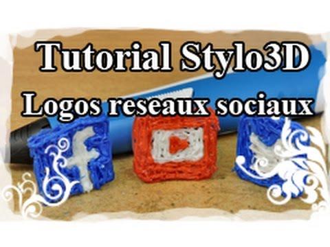 DIY : 3D pen / Stylo 3D Tutoriel N°4 : Logo Youtube/Twitter/Facebook