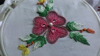 Hand embroidery . Beautiful  flower stitch with mirror.