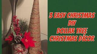 3 Easy Christmas Décor| DIY Dollar Tree Christmas Rustic Décor