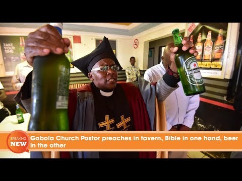 Gabola Church Pastor preaches in tavern - Bible in one hand and beer in the other