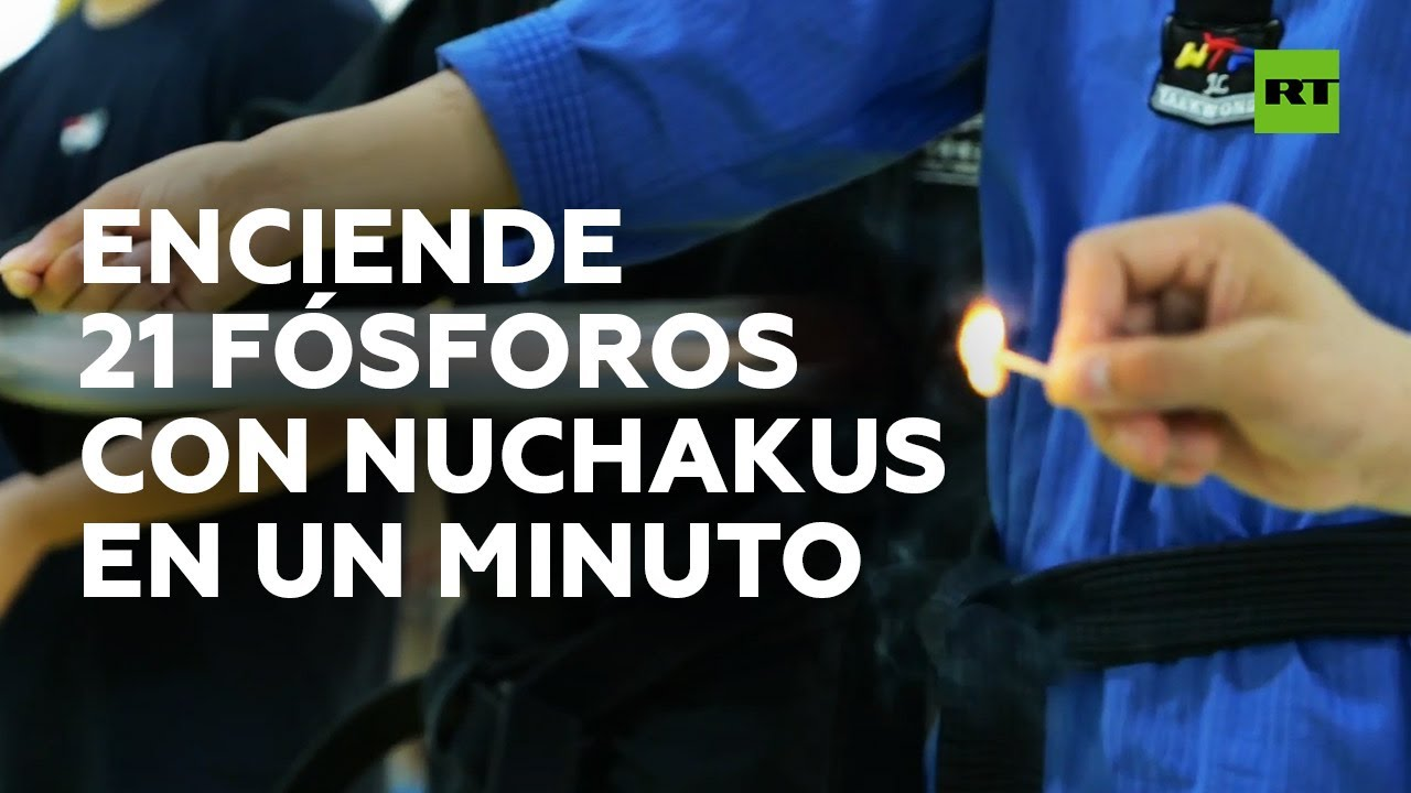 Récord mundial al encender 21 fósforos con nunchakus en un minuto