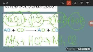 Kimyevi reaksiyalarin tipleri. Istilik effekti. Hess qanunu. 7 ve 8-ci sinif