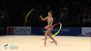 FIG RG World Cup 2016 Espoo - Dina Averina RUS performing her ribbo...