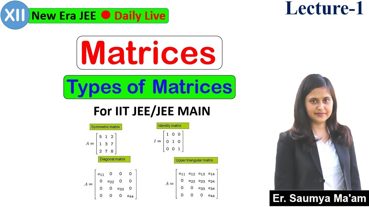 Matrices | L-1 | Types of Matrices | For IIT JEE (Main+Adv.) | Achievers (12th) | By- Saumya Ma'am