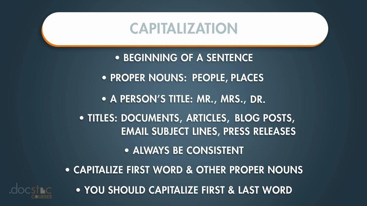 Capitalization - Business Writing & Grammar