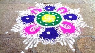 how to draw nice flower rangoli design - K91