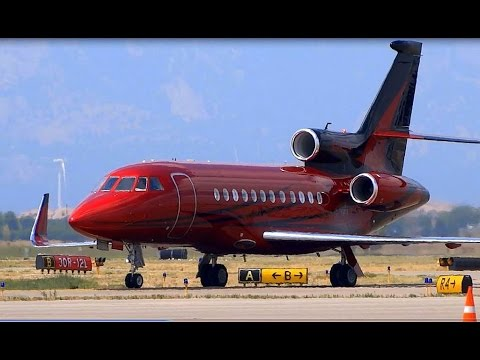 Beautifully Painted Dassault Falcon 900 - Landing, Arrival and Shutdown