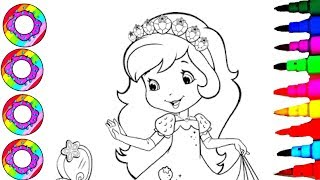 Drawings and Coloring Princess Strawberry Shortcake for Kids with Rainbow Headband Coloring Pages