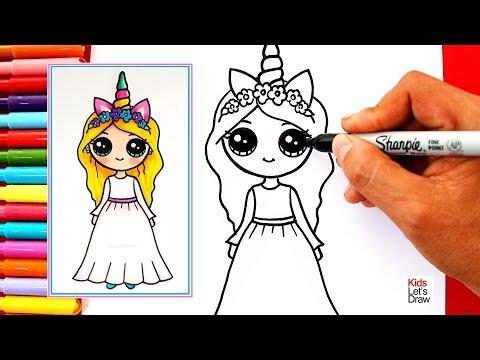 Cómo Dibujar Una Chica Unicornio Kawaii Vestido Blanco Learn To