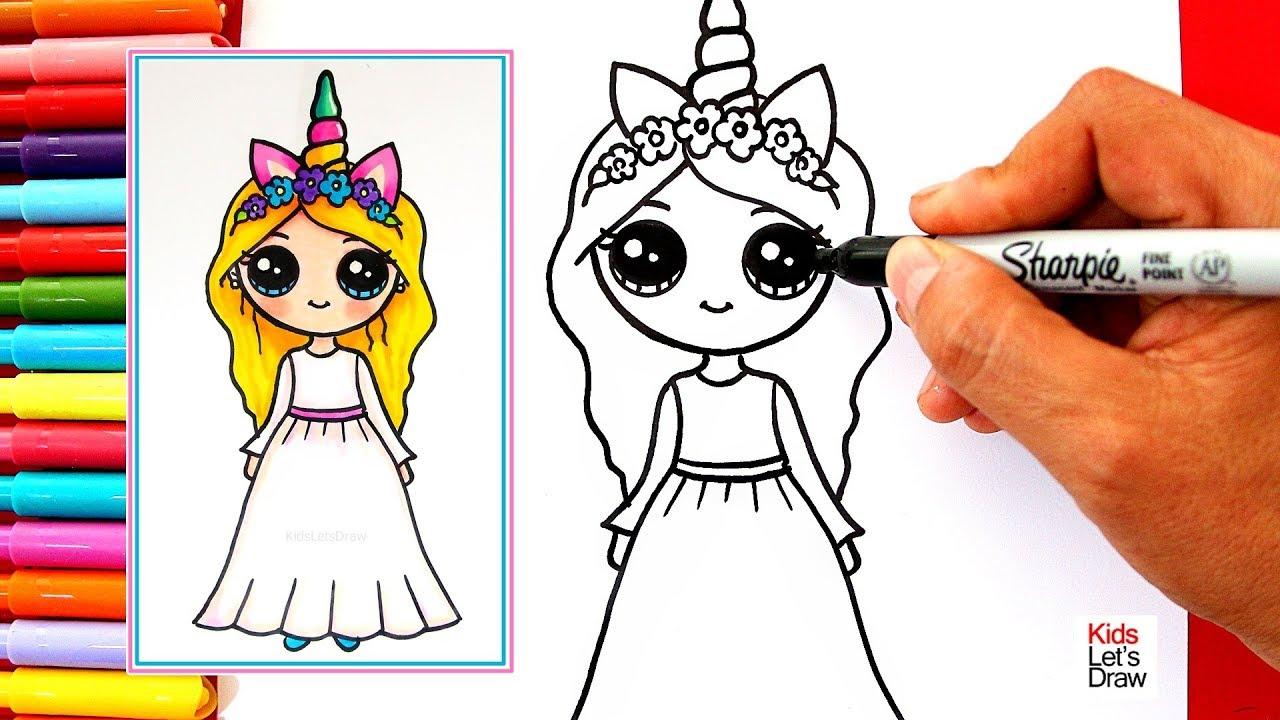 Como Dibujar Una Chica Unicornio Kawaii Rubia Y De Vestido Blanco