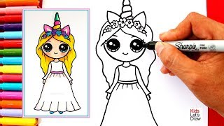 Cómo dibujar una CHICA UNICORNIO Kawaii (Vestido Blanco) | Learn to Draw a Cute Unicorn Girl