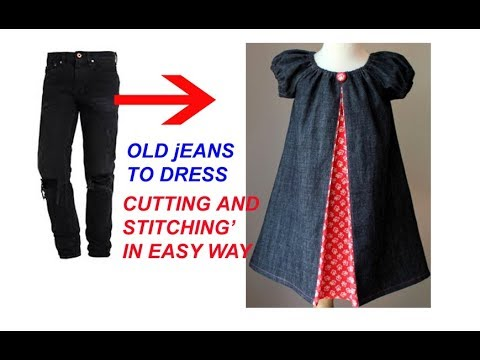 4fcc6b9ae608 REUSE   transform OLD Jeans to Designer Baby frock -cutting and ...