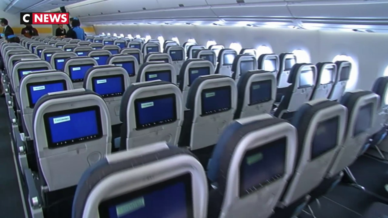 L 39 a350 vole en premier sur air cara bes youtube for Avion air transat interieur