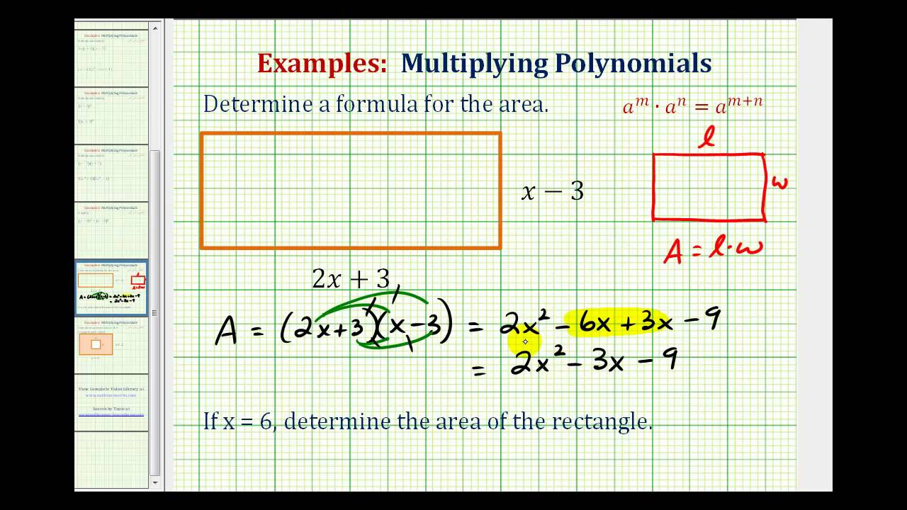 Ex Find The Area Of A Rectangle Using A Polynomial Youtube