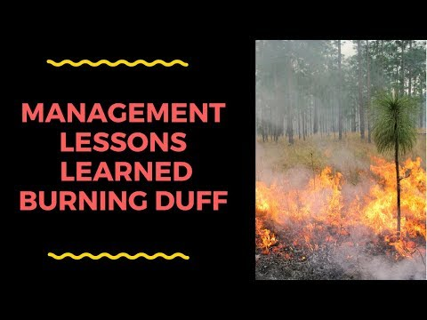 Fire Management Lessons Learned when Burning Duff