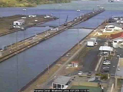 Panama Canal, Miraflores Webcam, 12 March 2009