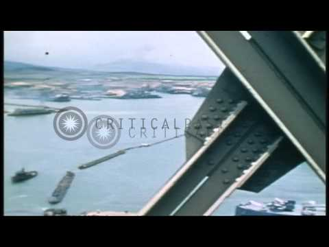 US Navy ships at the Navy base in Pearl Harbor Hawaii, including USS Salt Lake Ci...HD Stock Footage