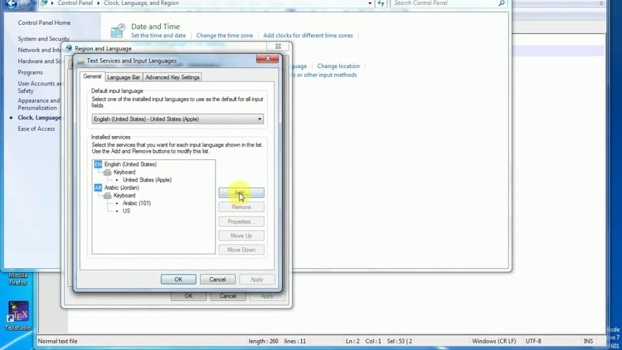 how to switch keyboard language windows 7