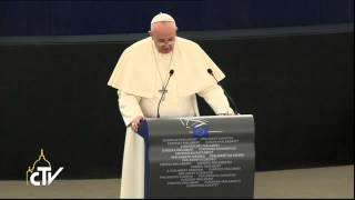 Pope Francis addresses the EU Parliament