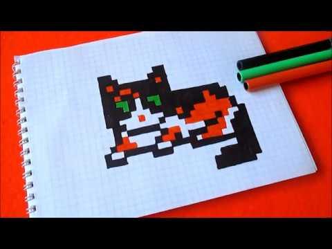 Как рисовать Котика Куки по клеточкам в тетради Пиксель Арт