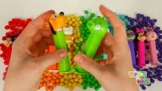 Rainbow Play Doh Dippin Dots and Pez Candy Dispensers Learn Colors