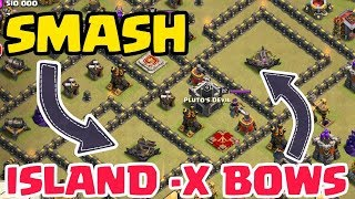 TH9 ISLAND (ISOLATED) X- BOW BASES SMASHED IN WAR,CLASH OF CLANS WAR ATTACKS