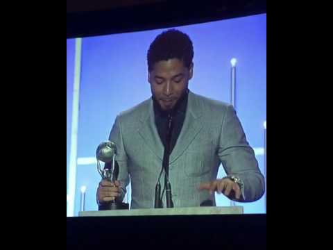 Jussie Smollett accepting Best Supporting Actor at the NAACP Image Awards 2017