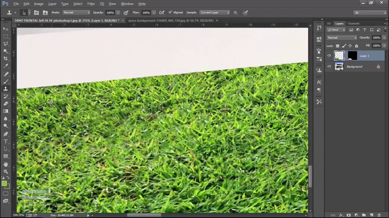 Make Grass in Photoshop Only 2 layer - Photoshop Architecture
