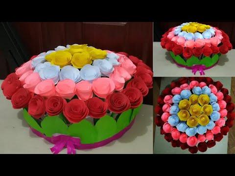 How To Make Paper Flower Bouquet // Easy Paper Flower Bouquet // DIY Gift Idea
