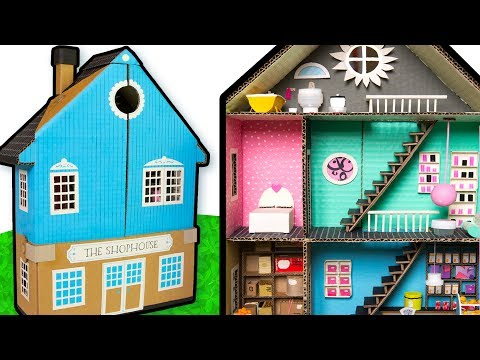 How to Make the Outside of the Cardboard Shop House | DIY Houses on Box Yourself