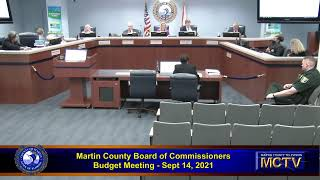 Martin County Board of County Commissioners  - Budget -  Sept 14, 2021