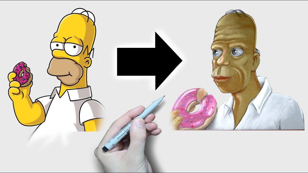 Je Dessine Les Simpson En Version Realiste Youtube