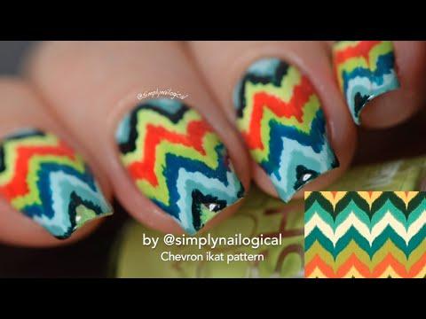 Chevron Ikat Nail Art