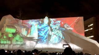2017年札幌雪まつり4丁目会場の様子です。 3Dマッピングは「決戦!雪のファイナルファンタジー」 ▽札幌雪まつり2017年のプロジェクションマッピングは4丁目と8丁目!