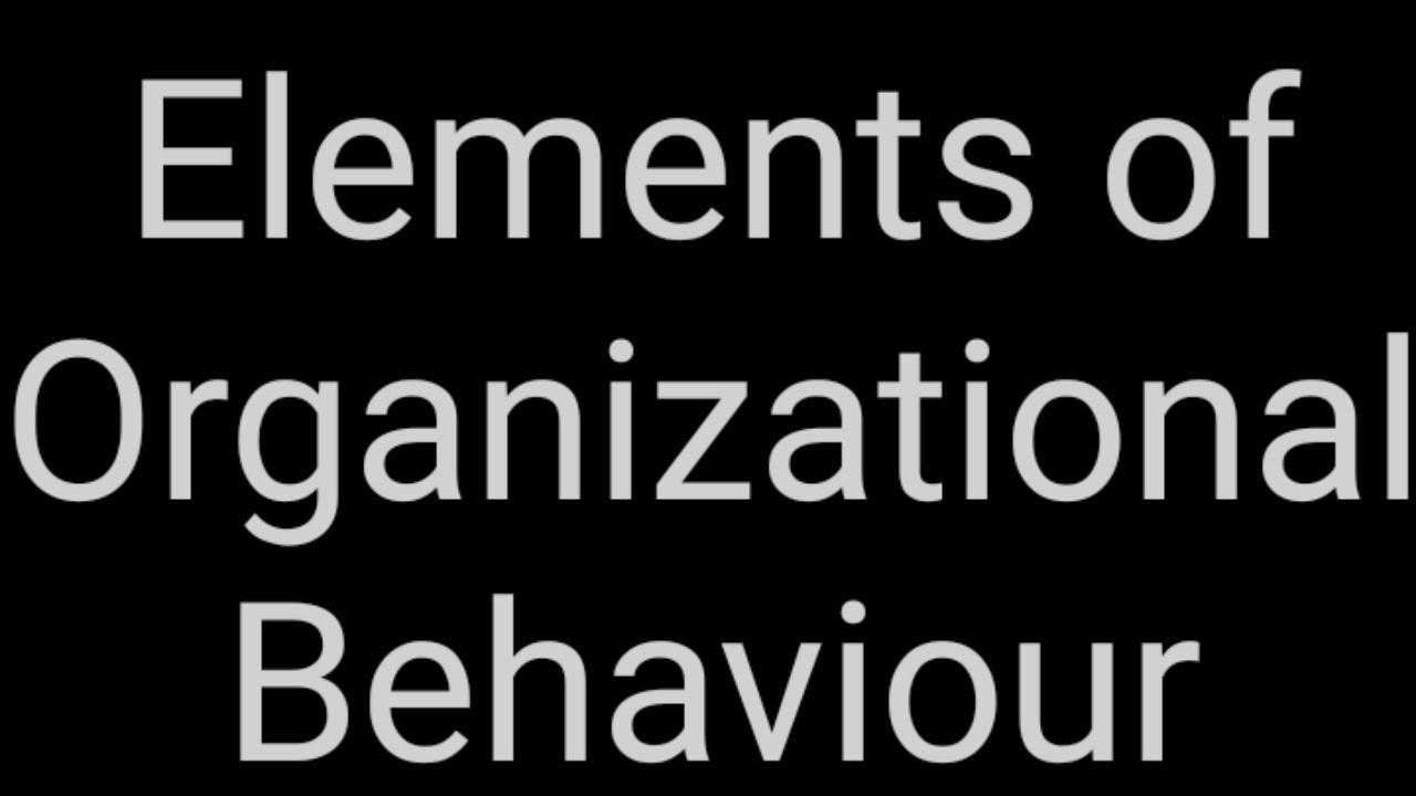 Elements of Organizational Behaviour