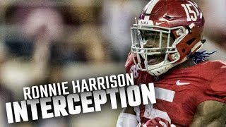Alabama's Ronnie Harrison intercepts LSU's Danny Etling