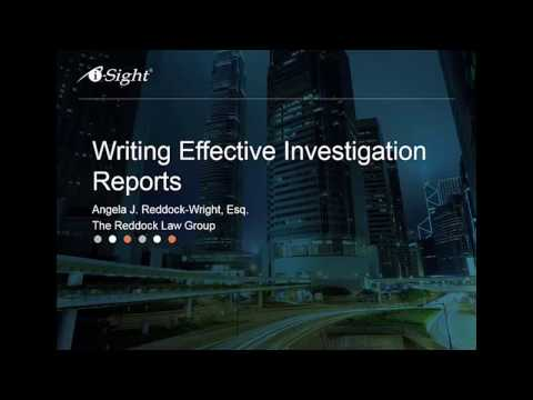 PREVIEW - Writing Effective Investigation Reports Webinar