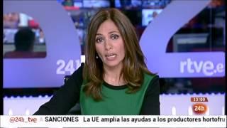 La presentadora del Canal 24 Horas de TVE explica la protesta de los trabajadores