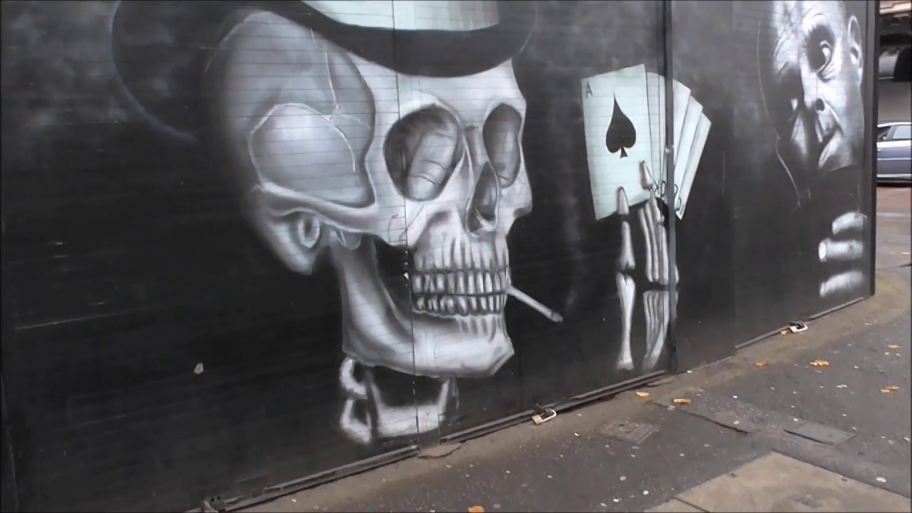 Skull Street Art At Joker Tattoo Parlour North St Belfast Youtube