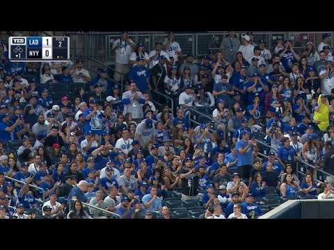LAD@NYY: Dodgers fans do roll call in Yankee Stadium